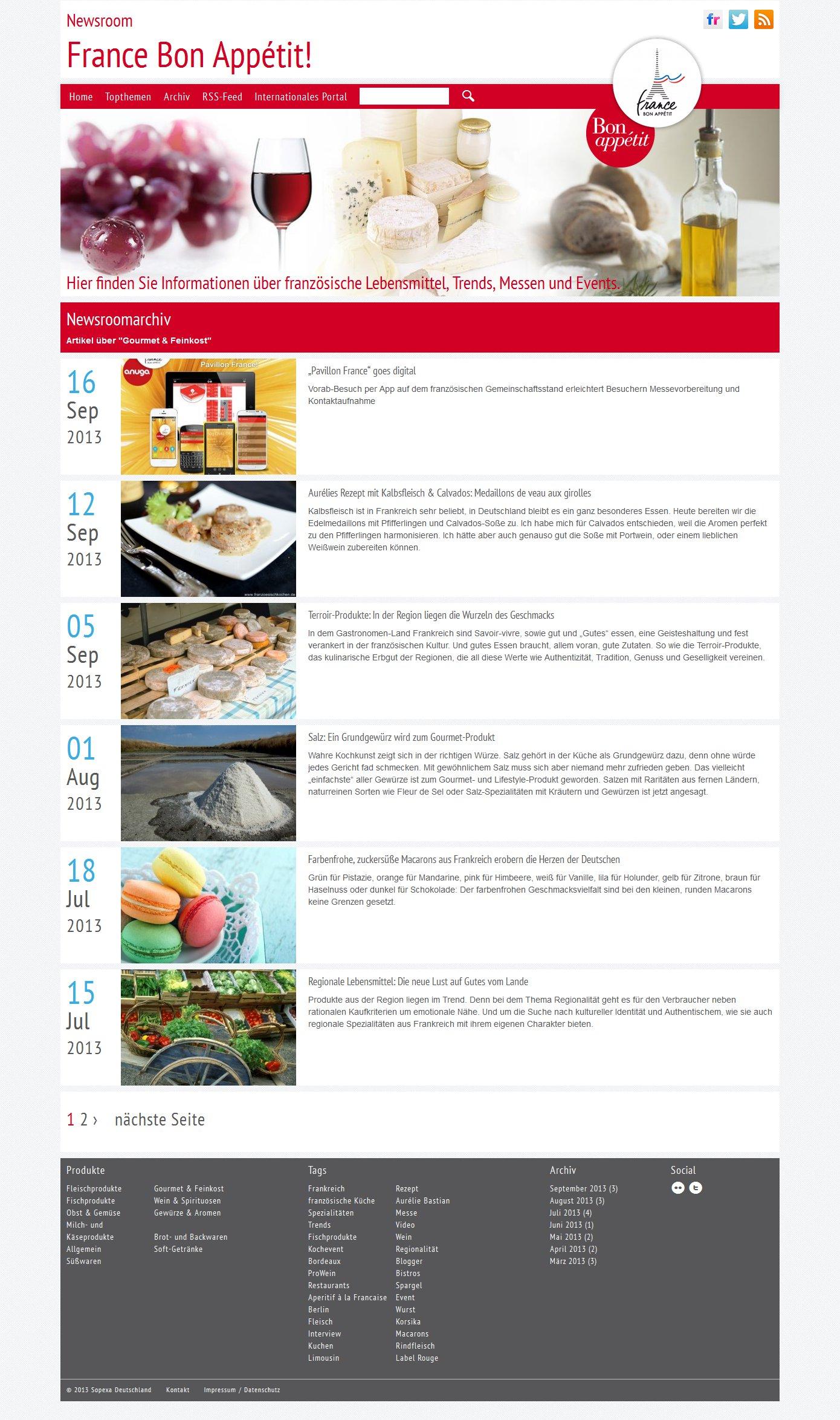 France Bon Appétit! Newsroom Artikelliste
