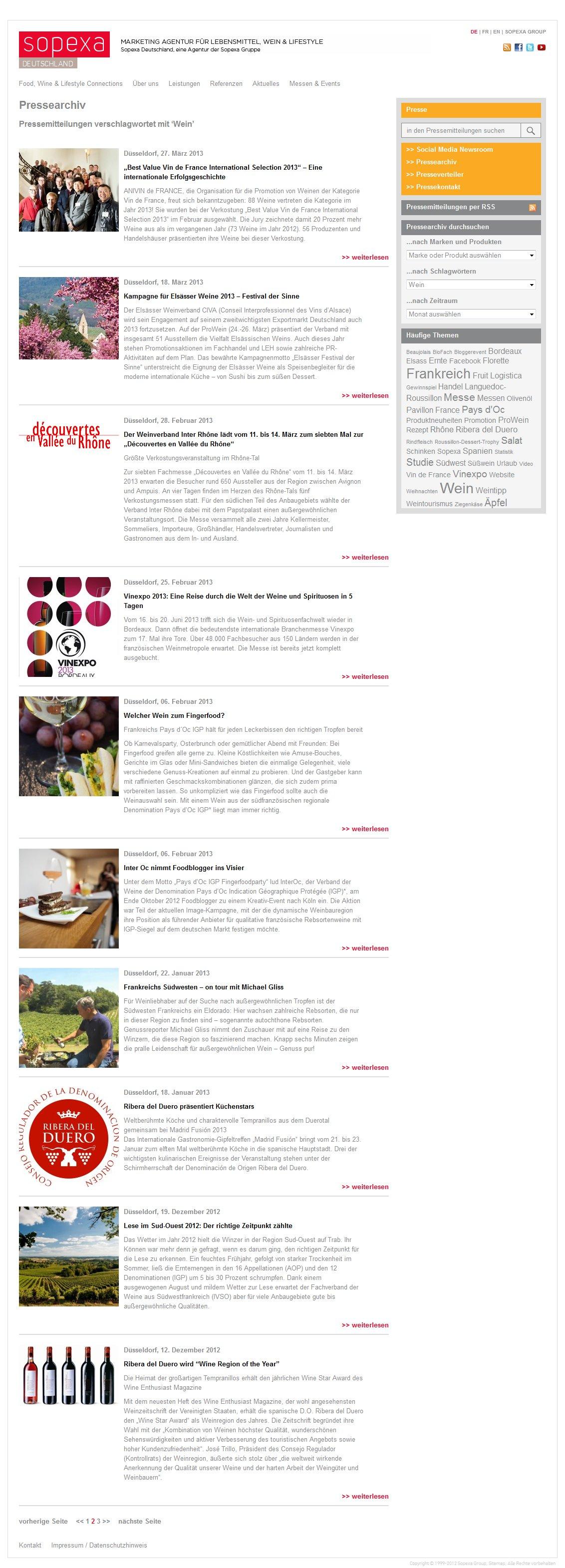 Sopexa Newsroom Artikelliste
